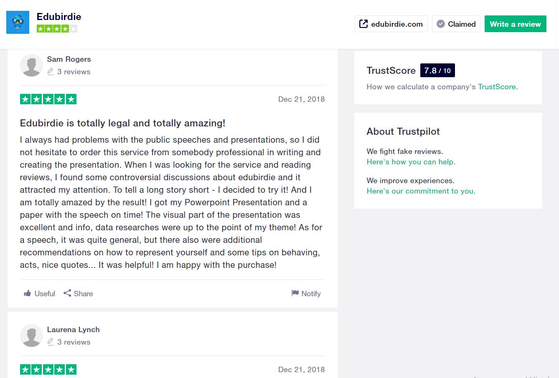 edubirdie review by trustpilot